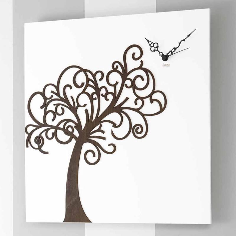Bílý čtverec dřevěný design nástěnné hodiny se stromem - Alberoeden