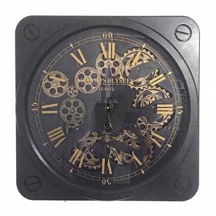 Nástěnné hodiny v retro designu v ocelovém čtvercovém tvaru Homemotion - Curzio