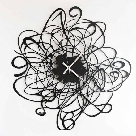Moderní design nástěnné hodiny v černé železné nebo bílé Made in Italy - Baldo