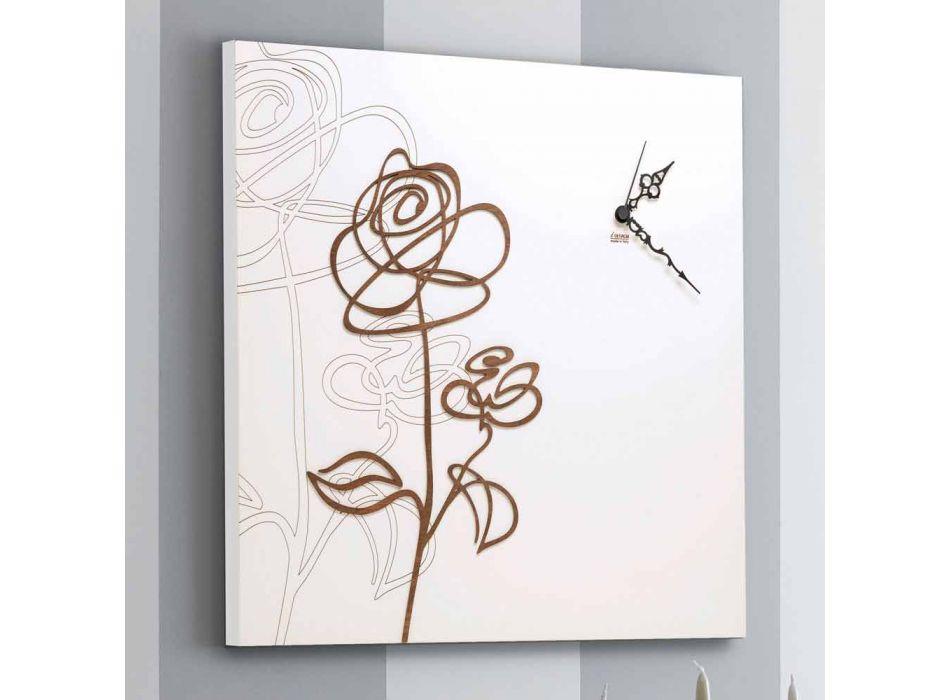 Bílý čtverec dřevěné nástěnné hodiny s moderní růží dekorace - sněženka