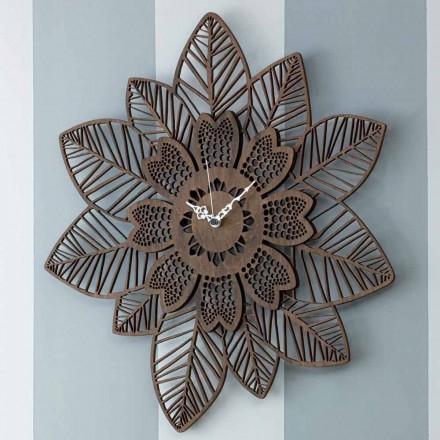 Nástěnné hodiny ze světlého nebo tmavého dřeva s moderním květinovým designem - Aquilegia