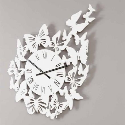 Nástěnné hodiny barevné dřevo moderní design zdobený motýly - Papilio