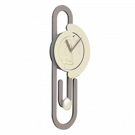 Kyvadlové nástěnné hodiny moderní design v béžové a hnědé dřevo - kancelářské sponky