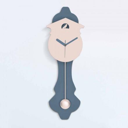 Moderní kyvadlové hodiny v šedé a růžové designové dřevo - kukačka
