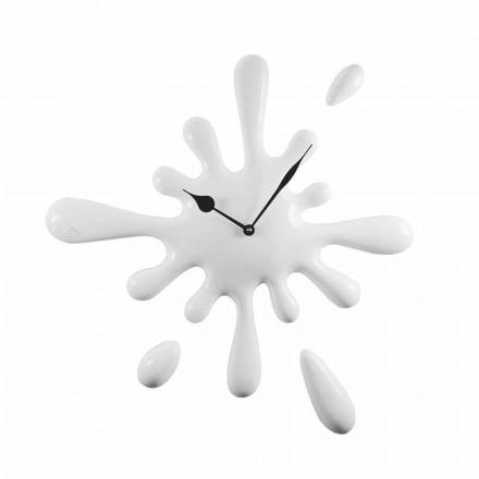 Ručně vyráběné nástěnné hodiny moderního designu v pryskyřici vyrobené v Itálii - citron