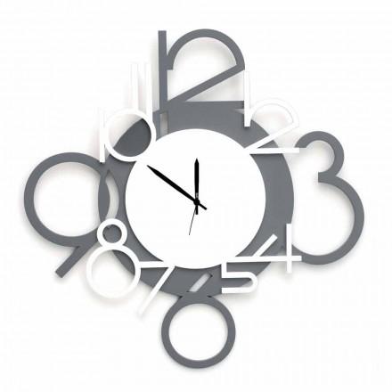 Velké a moderní design nástěnné hodiny v bílé a šedé dřevo - číslice