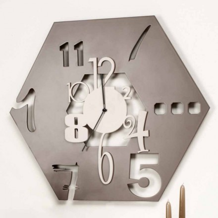 Velké moderní šestihranný design dřevěné nástěnné hodiny - mnohostěn