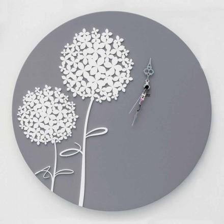 Moderní design kulaté zdobené šedé dřevo nástěnné hodiny - horní sprcha