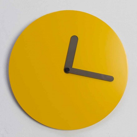 Moderní nástěnné hodiny v okrovém dřevěném kulatém designu Vyrobeno v Itálii - Amaltea