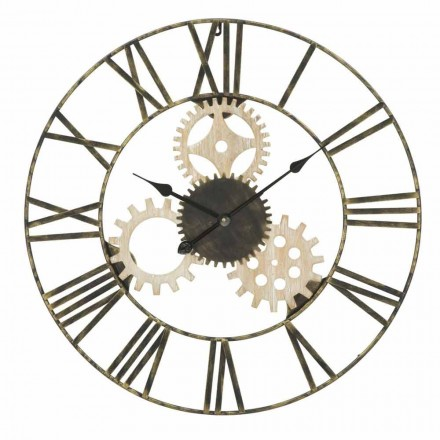 Kulaté nástěnné hodiny o průměru 70 cm, moderní design ze železa a MDF - Jutta