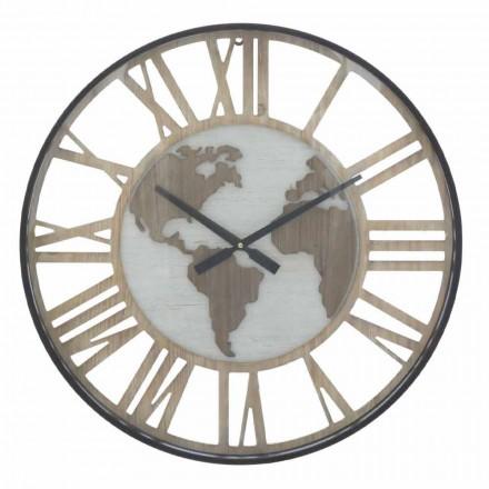 Kulaté nástěnné hodiny o průměru 60 cm, moderní ze železa a MDF - Arnela