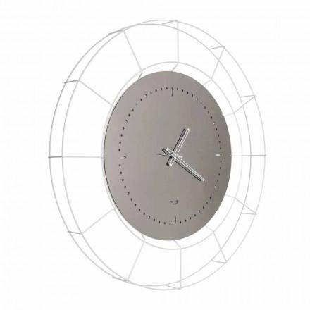 Moderní zrcadlové nástěnné hodiny z bílé oceli vyrobené v Itálii - Adalgiso