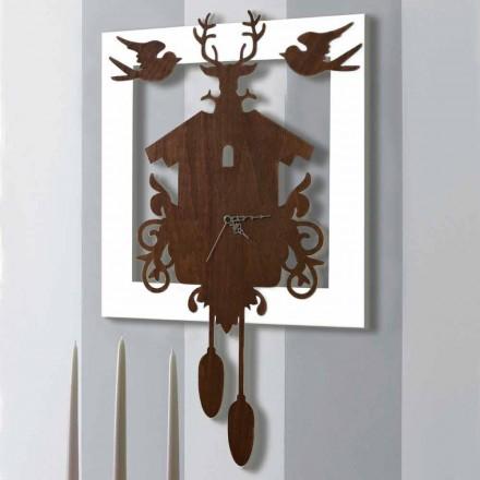 Moderní design nástěnné hodiny v tmavém a bílém zdobeném dřevě - pohádka