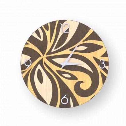 Moderní designové nástěnné hodiny vyrobené z dřeva Zane vyrobené v Itálii