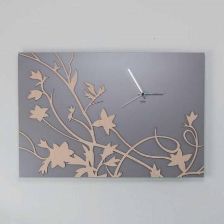 Moderní šedé obdélníkové nástěnné hodiny v zdobeném dřevě - gallium