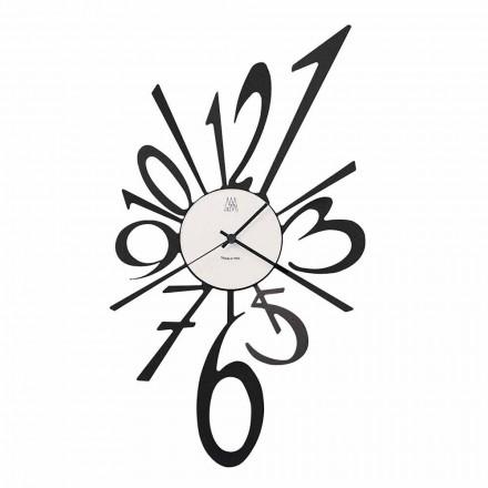 Design nástěnné hodiny z černého železa nebo hliníku Vyrobeno v Itálii - Oceano
