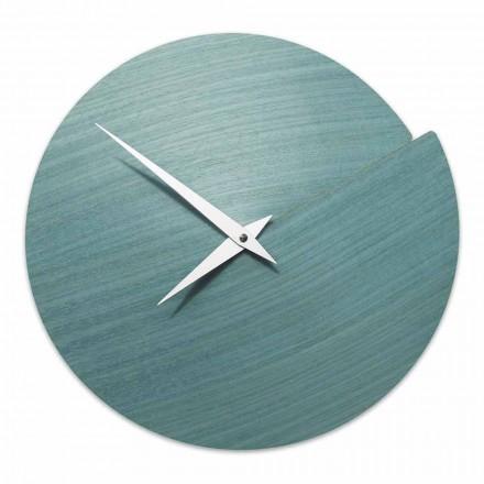 Nástěnné hodiny moderního designu z přírodního dřeva vyrobené v Itálii - Cratere