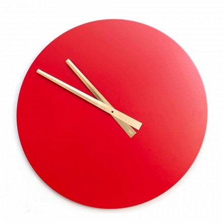 Velké barevné moderní nástěnné hodiny z kulatého dřeva - Dione