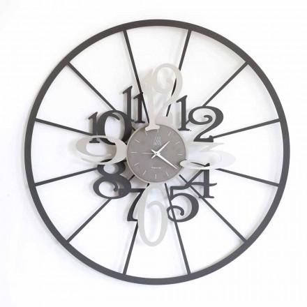 Moderní kruhové dvoubarevné železné nástěnné hodiny vyrobené v Itálii - Calipso