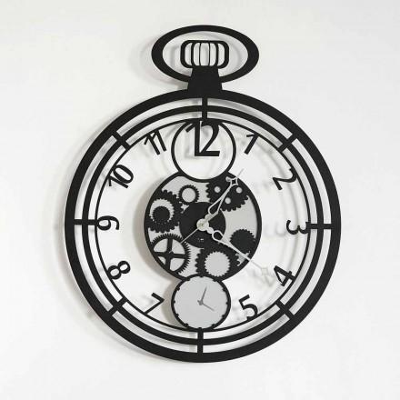 Moderní kruhové nástěnné hodiny v barevné železo vyrobené v Itálii - Cherry