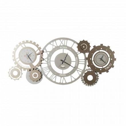 Moderní železné nástěnné hodiny se třemi Fusi vyrobenými v Itálii - mechanické
