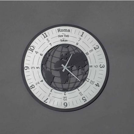 Moderní nástěnné hodiny z černého železa nebo břidlice vyrobené v Itálii - svět