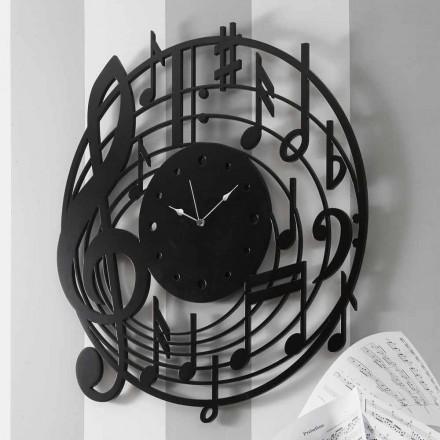 Moderní design kulaté černé nástěnné hodiny v zdobené dřevo - hudba