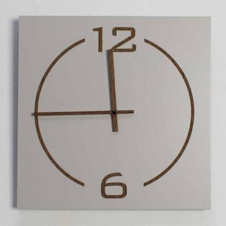 Náměstí a moderní design nástěnné hodiny v béžové a hnědé dřevo - Tabata
