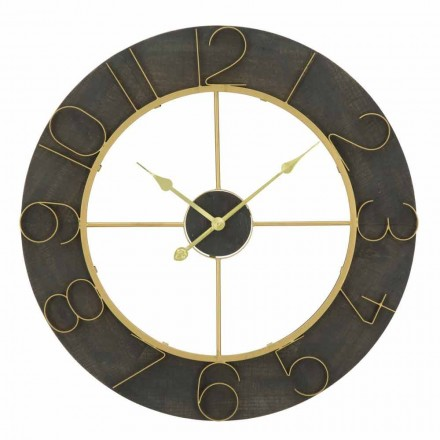 Kulaté nástěnné hodiny o průměru 70 cm, moderní design ze železa a MDF - Tonia