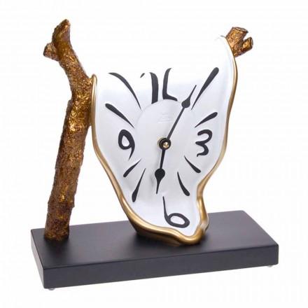 Moderní designové stolní hodiny v ručně malované pryskyřici vyrobené v Itálii - azurová