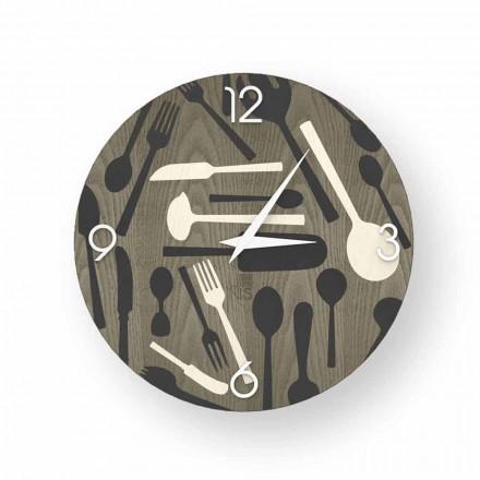 Ispra nástěnné hodiny ze dřeva, vyrobené v Itálii