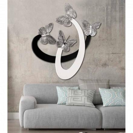 Designové nástěnné hodiny slonoviny / černé ručně vyráběné v Itálii Zenia