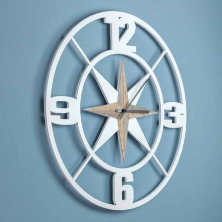 Velké nástěnné hodiny design v Shabby White a Brown Wood - závěs