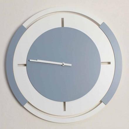 Klasické kulaté velké nástěnné hodiny v bílé a Avio Wood - Beppe