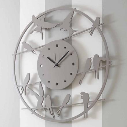 Velké moderní nástěnné hodiny v barevné kulaté dřevo - ptáci