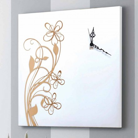Velké čtvercové nástěnné hodiny z bílého dřeva s květinou - Florello