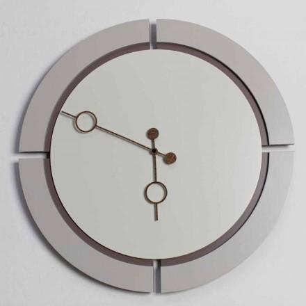 Velké kulaté nástěnné hodiny moderní design v hnědé a béžové dřevo - Osvego