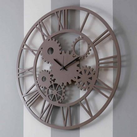 Velké a kulaté omšelé barevné dřevěné nástěnné hodiny - mechanismus