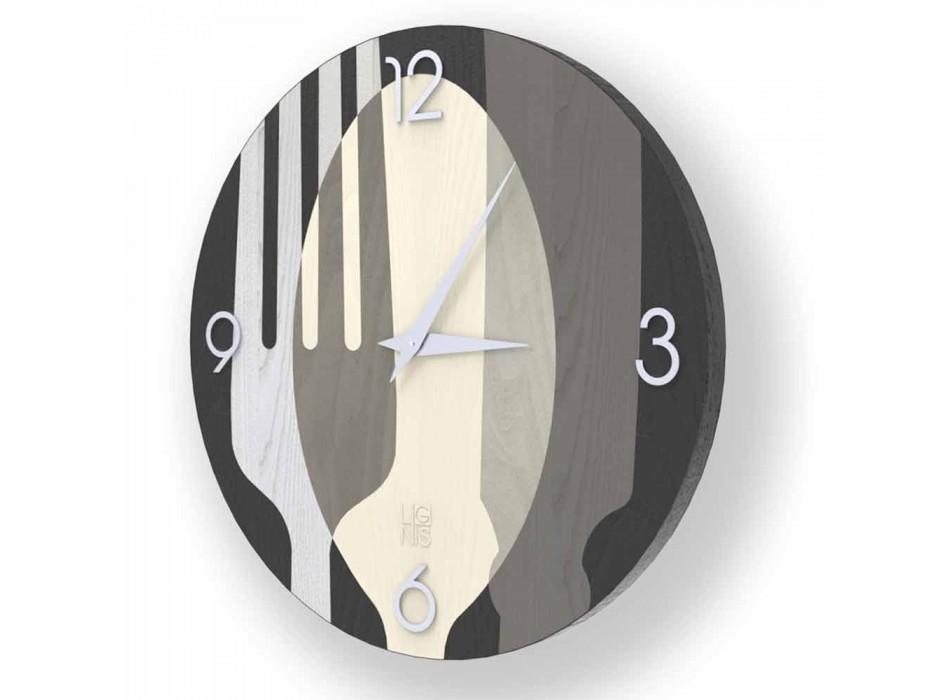 Agra moderní nástěnné hodiny ve dřevě, vyrobené v Itálii