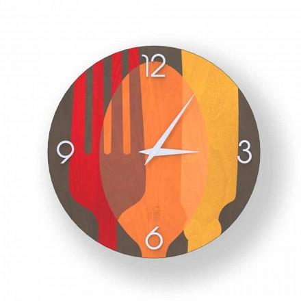 Agra nástěnné hodiny ve dřevě, moderní design, vyrobené v Itálii