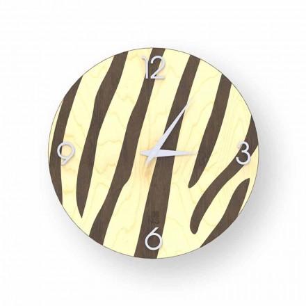 Moderní nástěnné hodiny v dřevě Siena, design v Itálii