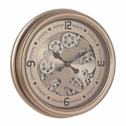 Kulaté nástěnné hodiny z oceli a MDF v klasickém designu Homemotion - gobelín