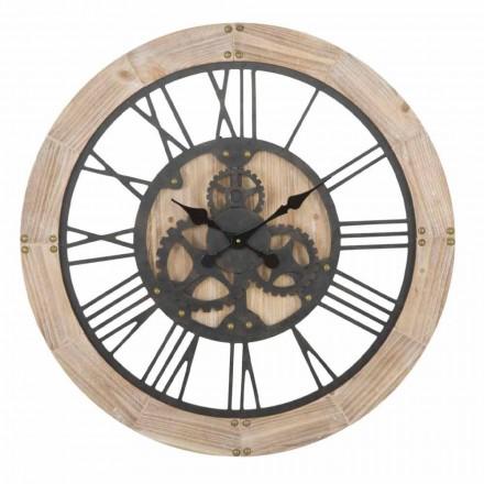 Kulaté nástěnné hodiny o průměru 80 cm v provedení ze železa a MDF - Silva