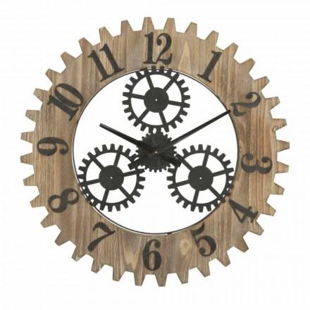 Moderní designové kulaté nástěnné hodiny ze železa a MDF - Gitta