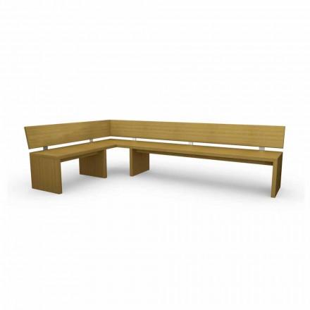 Moderní rohová lavice z dubového dřeva vyrobená v Itálii, Misty