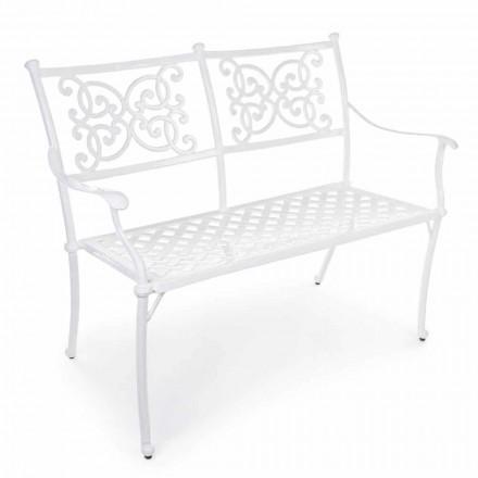 Stohovatelná zahradní lavice z bílého hliníku, lesklý efekt - Sama