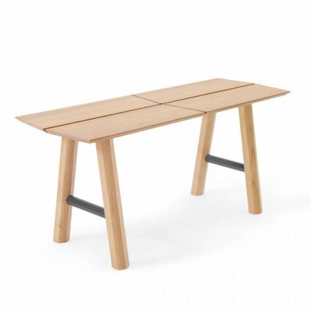 Moderní designová lavička z jasanového dřeva s dýhovaným sedadlem - Andria
