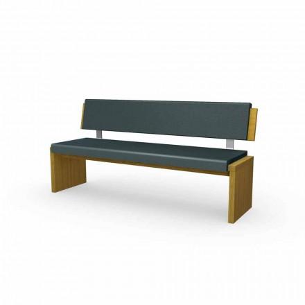 Moderní lavice z dubového dřeva, čalouněná černou ekokožkou, Candy