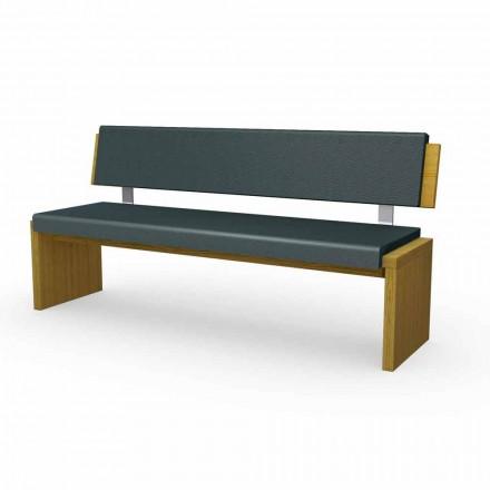 Moderní lavice z dubového dřeva čalouněná v černé eko-kůže, Misty