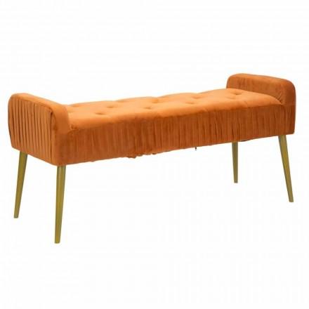 Moderní obdélníková lavička v barvě Rust v barvě látky a dřeva - Zack